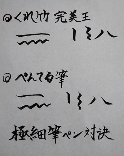 ぺんてる筆とくれ竹完美王の書き文字比較